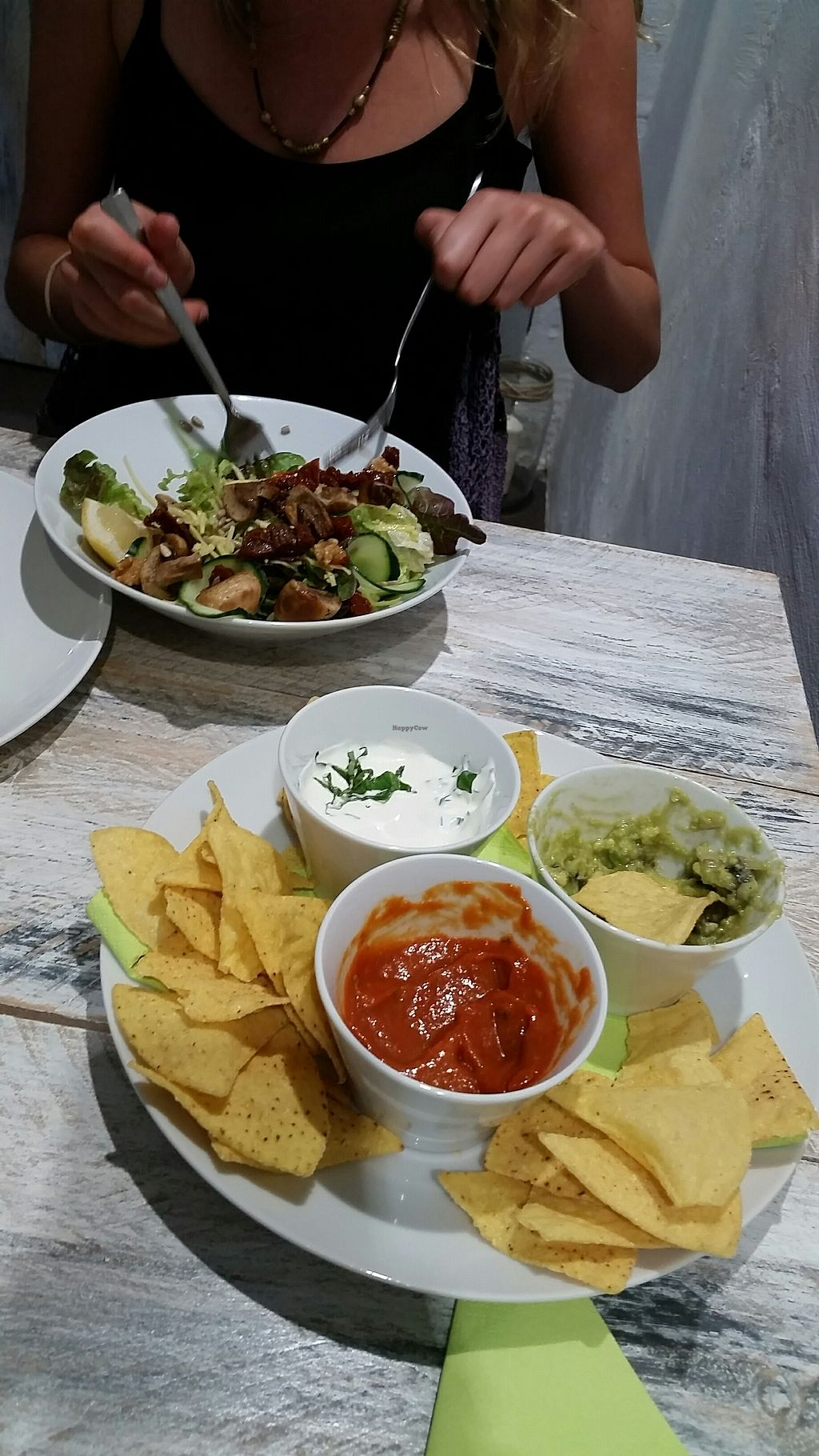 """Photo of Vegan Ibiza  by <a href=""""/members/profile/rominargh"""">rominargh</a> <br/>Nacho's with three dips <br/> July 26, 2017  - <a href='/contact/abuse/image/93478/284997'>Report</a>"""
