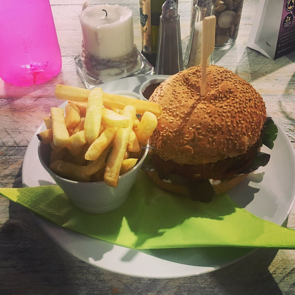 """Photo of Vegan Ibiza  by <a href=""""/members/profile/HollieCarlin"""">HollieCarlin</a> <br/>vegan burger <br/> August 9, 2017  - <a href='/contact/abuse/image/93478/290731'>Report</a>"""