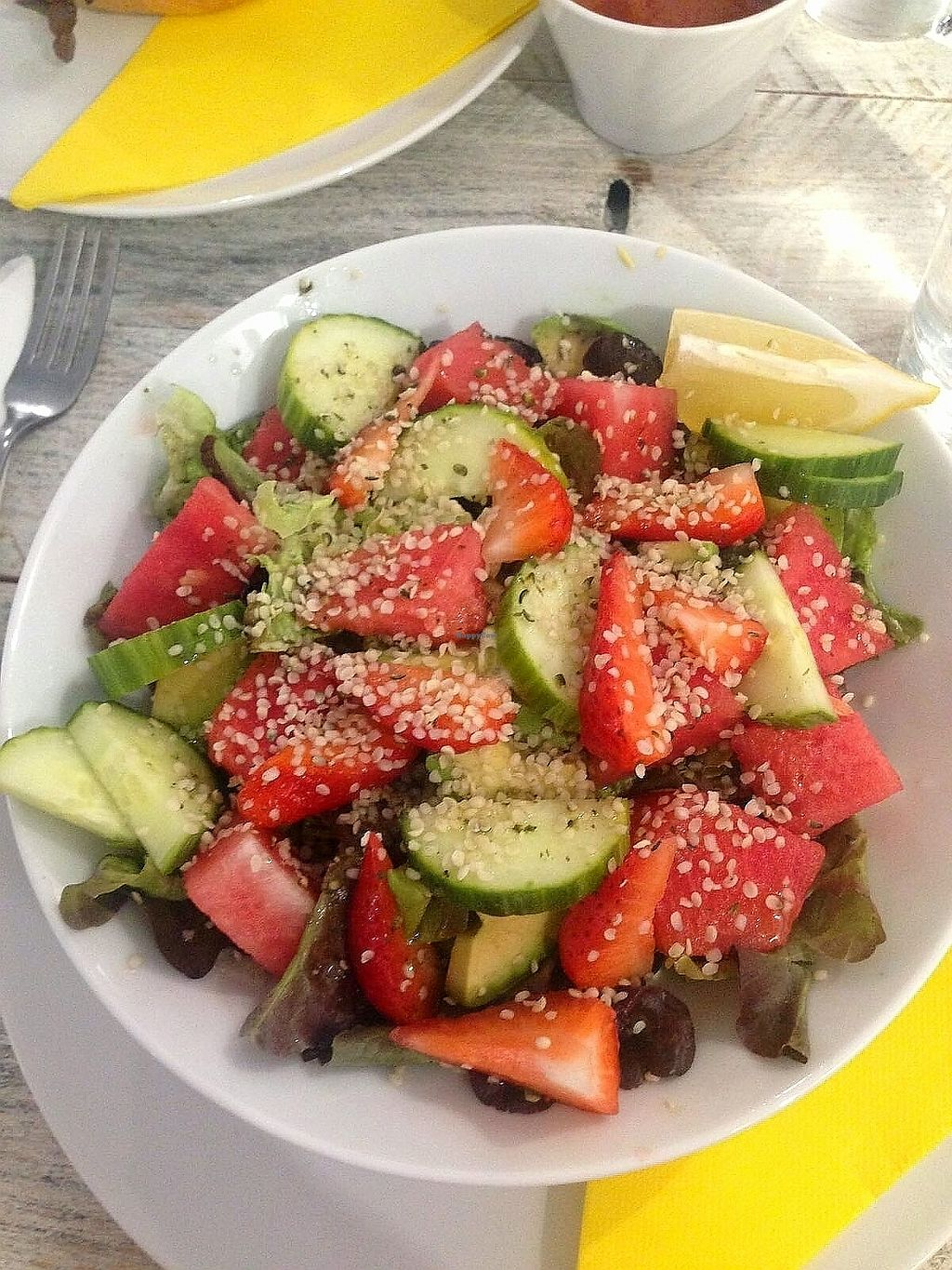 """Photo of Vegan Ibiza  by <a href=""""/members/profile/wyrd"""">wyrd</a> <br/>Fruit and vegetables salad <br/> August 24, 2017  - <a href='/contact/abuse/image/93478/296834'>Report</a>"""