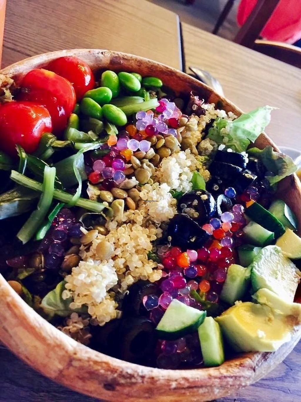 """Photo of Cafe La Boheme - G-Zone  by <a href=""""/members/profile/paulkates"""">paulkates</a> <br/>Vegan tofu salad <br/> June 7, 2017  - <a href='/contact/abuse/image/93479/266520'>Report</a>"""