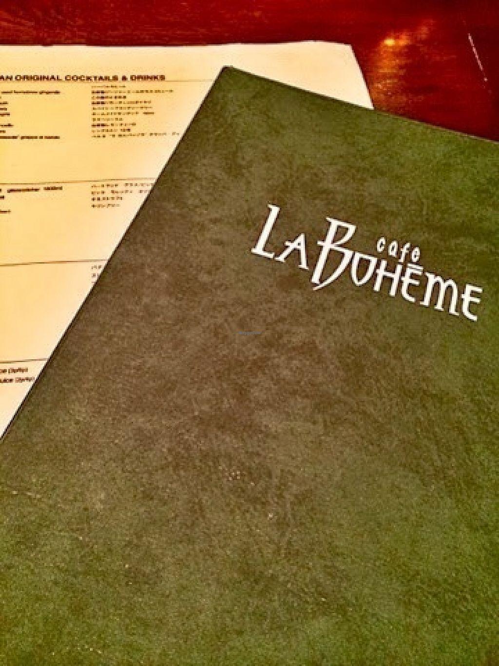 "Photo of Cafe La Boheme - Sakura-Shinmachi  by <a href=""/members/profile/paulkates"">paulkates</a> <br/>Menu/logo <br/> June 7, 2017  - <a href='/contact/abuse/image/93491/266532'>Report</a>"