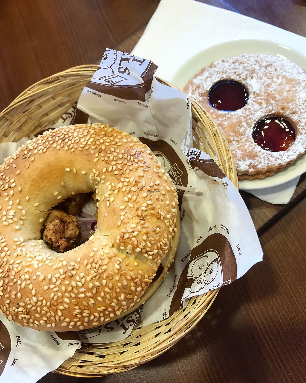 """Photo of Best Bagels Gambetta  by <a href=""""/members/profile/MusicalVeggie"""">MusicalVeggie</a> <br/>Alaska fire bagel and raspberry cookie  <br/> September 5, 2017  - <a href='/contact/abuse/image/93514/301211'>Report</a>"""