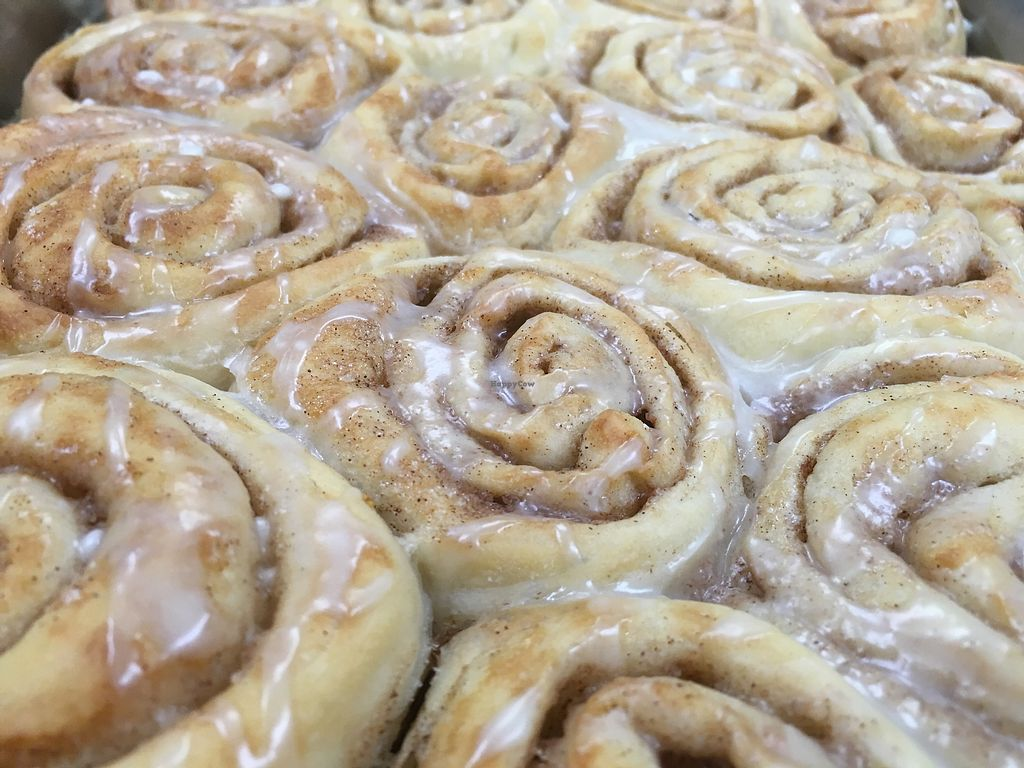 """Photo of Radha Govinda's Buffet  by <a href=""""/members/profile/LengleJungle"""">LengleJungle</a> <br/>practicing our vegan carob cinnamon rolls drizzled in almond icing  <br/> July 17, 2017  - <a href='/contact/abuse/image/93526/281518'>Report</a>"""