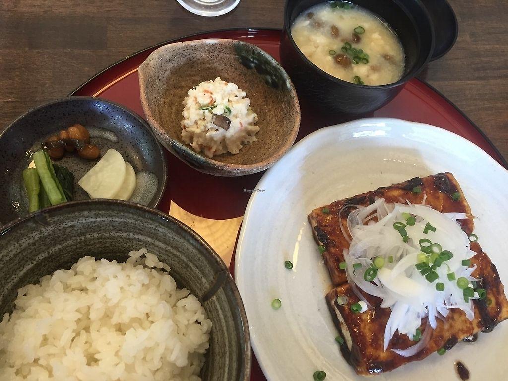 "Photo of Tofu Denko  by <a href=""/members/profile/Vegeiko"">Vegeiko</a> <br/>Tofu steak set ¥980 <br/> June 7, 2017  - <a href='/contact/abuse/image/93560/284568'>Report</a>"