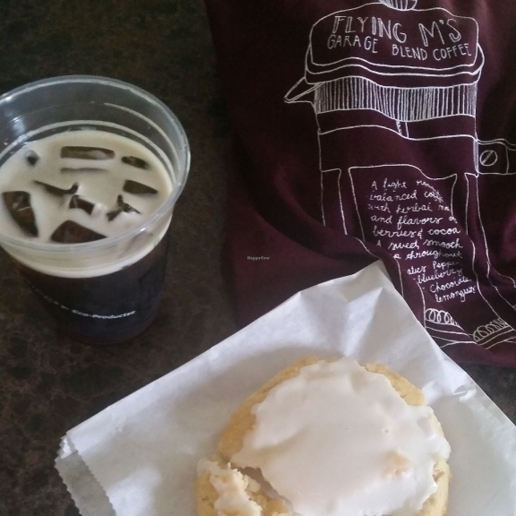 "Photo of Flying M Coffee Garage  by <a href=""/members/profile/outdoorjunkiegirl"">outdoorjunkiegirl</a> <br/>Vegan Lemon Cookie and Nitro coffee <br/> June 6, 2017  - <a href='/contact/abuse/image/93587/266486'>Report</a>"