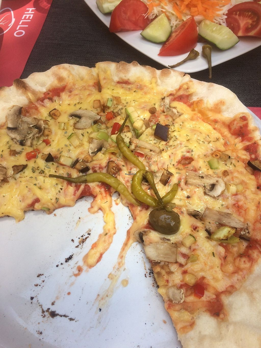 "Photo of Ombra Caffe & Lounge Bar  by <a href=""/members/profile/alison-mc"">alison-mc</a> <br/>Vegetarian pizza with vegan cheese <br/> July 16, 2017  - <a href='/contact/abuse/image/93597/281078'>Report</a>"