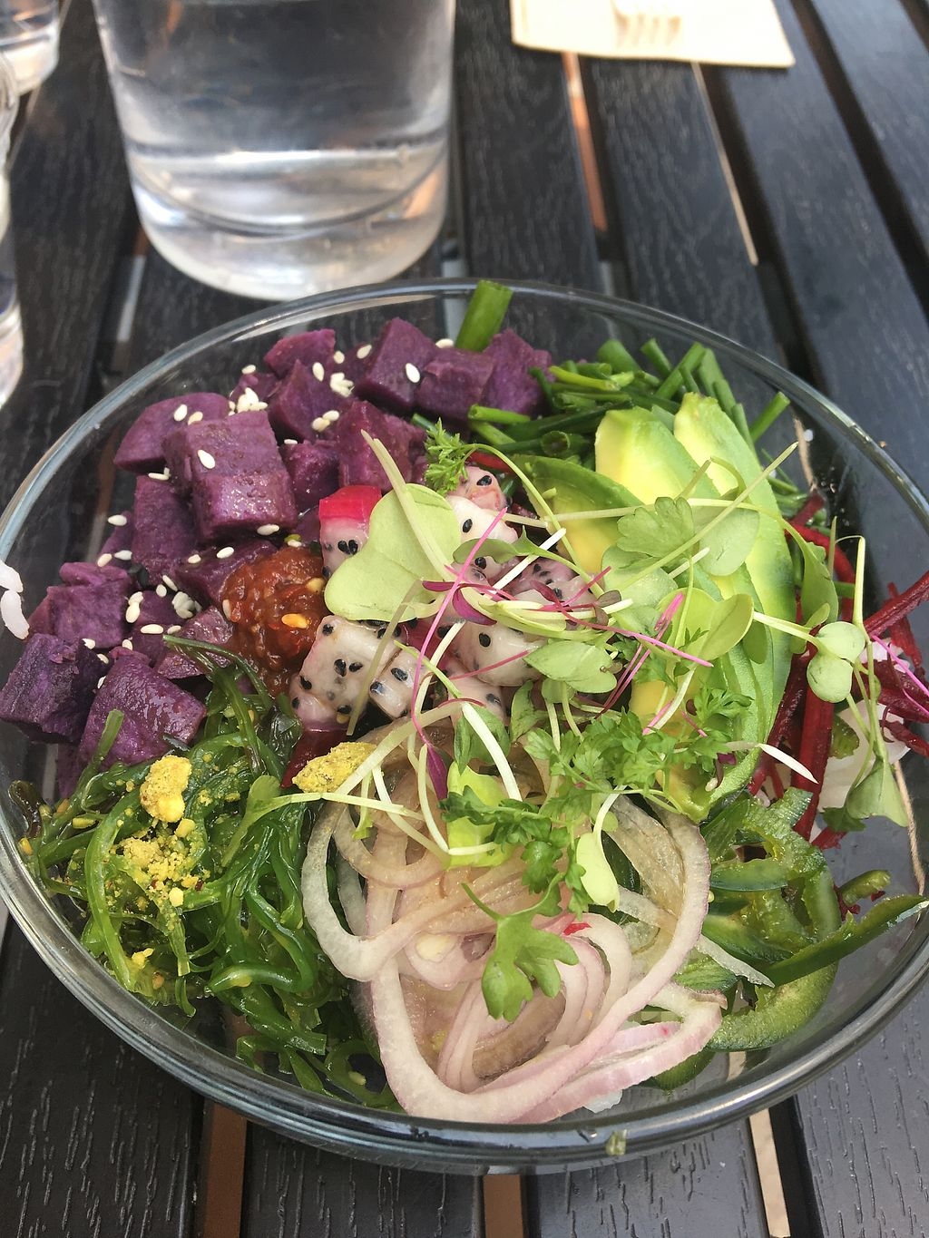 """Photo of Raleigh Raw Juice Bar & Cafe  by <a href=""""/members/profile/EmilySuttonTaylor"""">EmilySuttonTaylor</a> <br/>The hustle vegan poke bowl  <br/> September 4, 2017  - <a href='/contact/abuse/image/93603/300877'>Report</a>"""