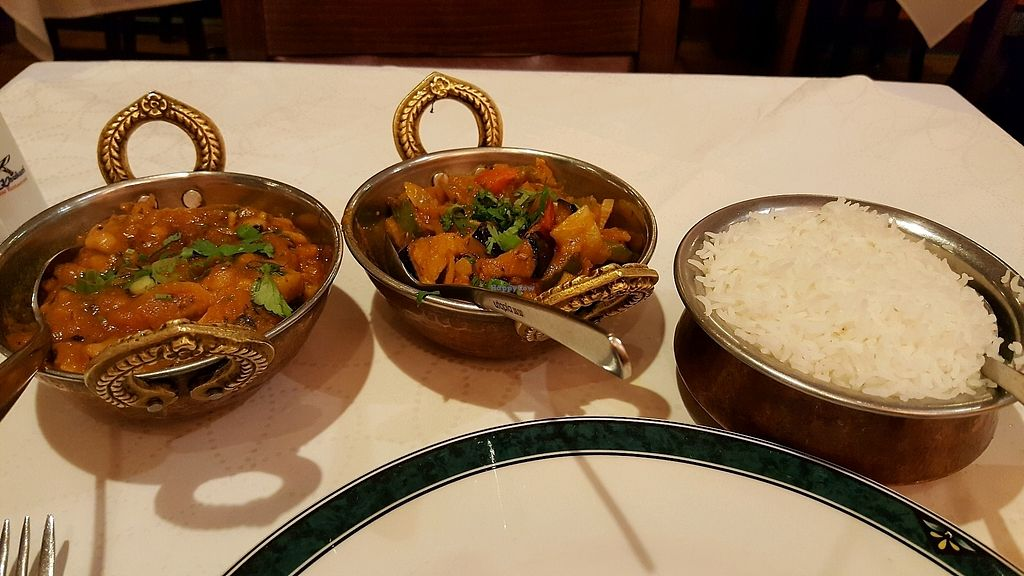 """Photo of The Khukuri Restaurant  by <a href=""""/members/profile/ollie33"""">ollie33</a> <br/>Aloo Tama Boori (left), Bhanta Bhajee (center), both sides, w/basmati rice <br/> September 6, 2017  - <a href='/contact/abuse/image/93620/301581'>Report</a>"""