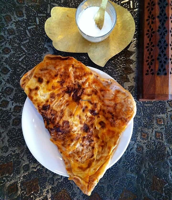 """Photo of The Coffee Lover's Cafe  by <a href=""""/members/profile/LucyNg"""">LucyNg</a> <br/>This is our favourite and best seller. Tomatoes, pepper Moroccan pancake (Mhjab). 100% vegan. Have it on its own, toasted with pesto, houmous or cheese. Wrap it with falafel, houmous and salad is a meal it self. Or have our beans tagine with it. Low in gluten and high in protein. *we have a spinach one too!  <br/> June 11, 2017  - <a href='/contact/abuse/image/93648/268203'>Report</a>"""