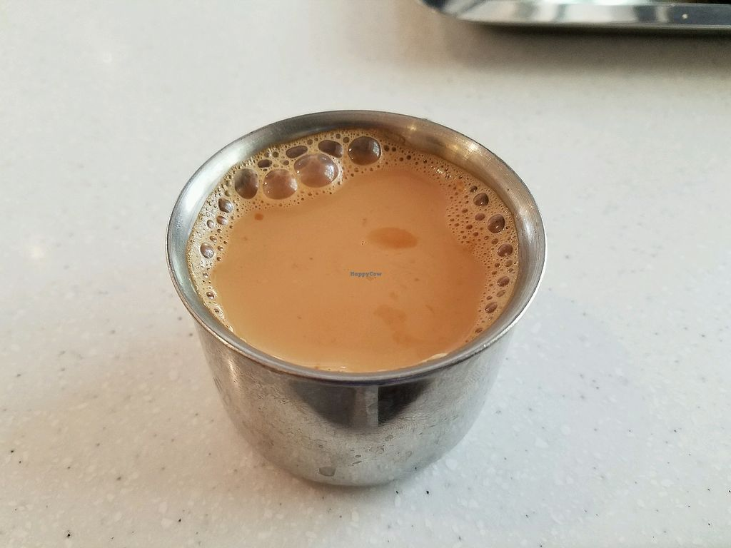 """Photo of Saravanaa Bhavan  by <a href=""""/members/profile/chulaww"""">chulaww</a> <br/>masala tea (contains dairy) <br/> February 18, 2018  - <a href='/contact/abuse/image/93727/360724'>Report</a>"""