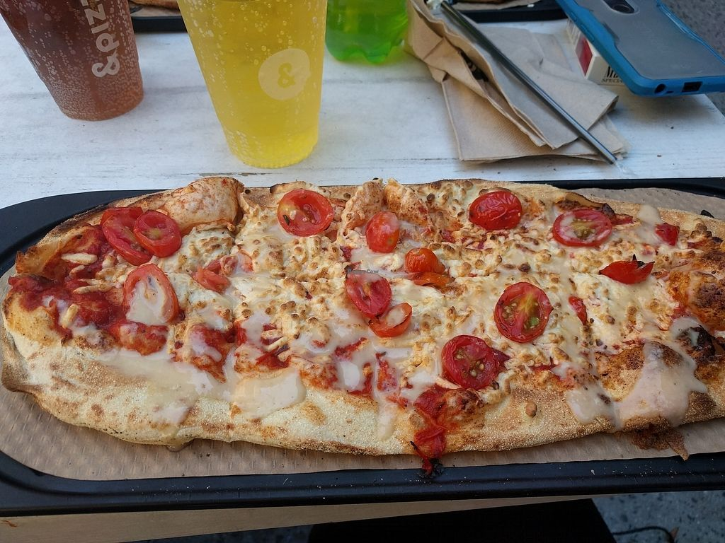 """Photo of &pizza  by <a href=""""/members/profile/StephanieJansen"""">StephanieJansen</a> <br/>Margherita w vegan cheeze and a garlic drizzle  <br/> August 5, 2017  - <a href='/contact/abuse/image/93735/289289'>Report</a>"""