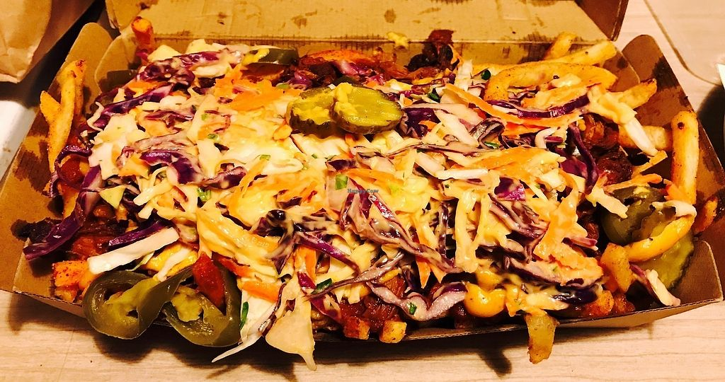 """Photo of Bake and Burger  by <a href=""""/members/profile/NirvanaRoseWilliams"""">NirvanaRoseWilliams</a> <br/>Loaded fries with jack fruit, vegan mayo and slaw  <br/> June 10, 2017  - <a href='/contact/abuse/image/93741/267591'>Report</a>"""