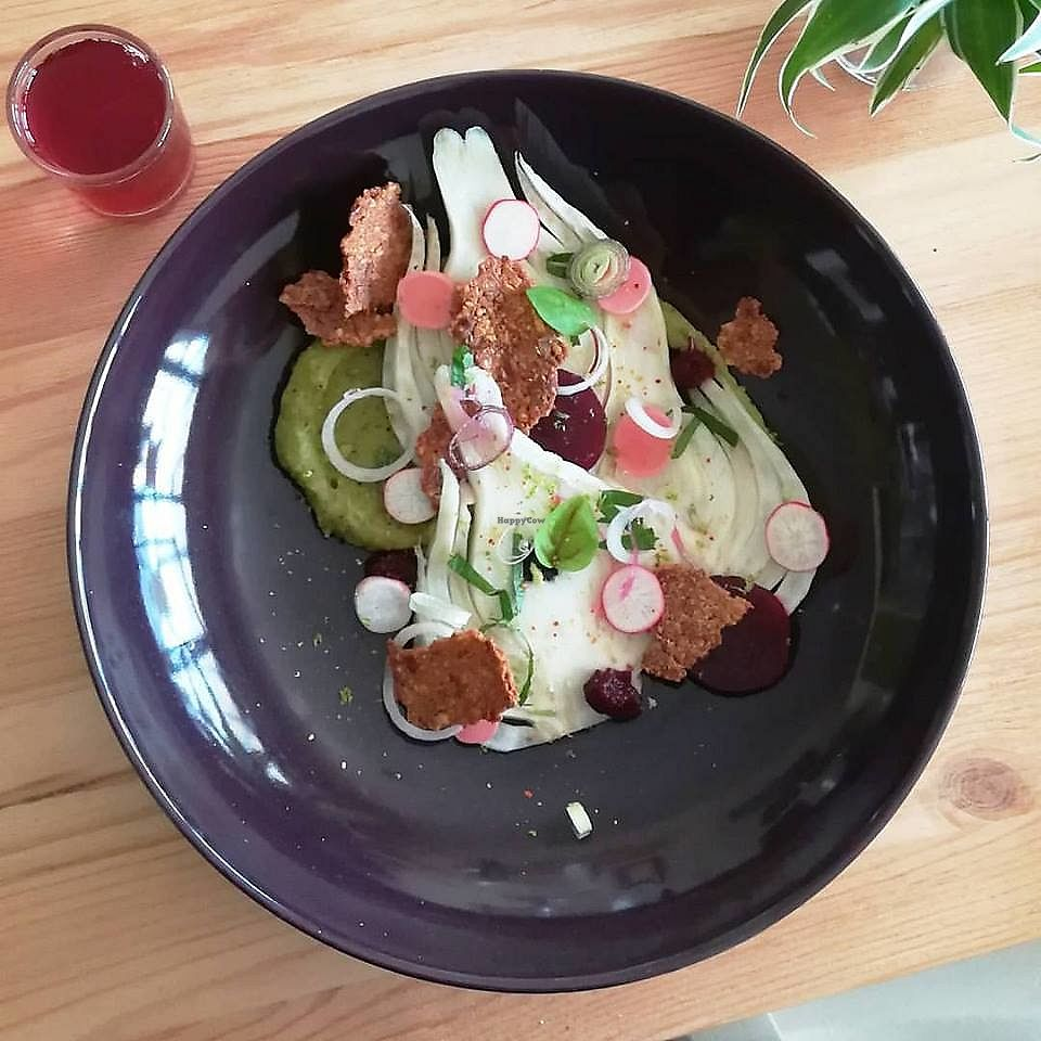 "Photo of L'umaami  by <a href=""/members/profile/community5"">community5</a> <br/>Starter of fennel salad, pea puree and mint, beets, almonds and sparkling hibiscus <br/> June 12, 2017  - <a href='/contact/abuse/image/93747/268517'>Report</a>"