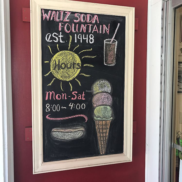 """Photo of Waltz's Soda Fountain  by <a href=""""/members/profile/Sarah%20P"""">Sarah P</a> <br/>hours of business <br/> June 9, 2017  - <a href='/contact/abuse/image/93764/267388'>Report</a>"""