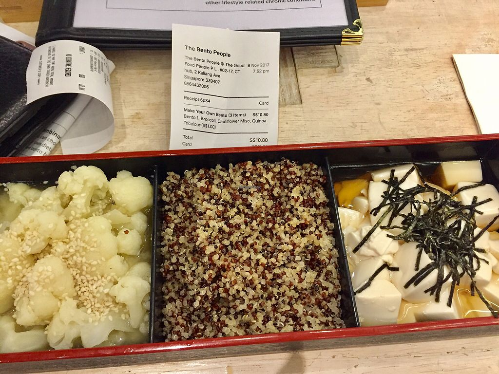 """Photo of The Bento People  by <a href=""""/members/profile/lindyhan"""">lindyhan</a> <br/>Basic bento $9.8: cauliflower in miso soup, silken tofu in udon soup, tri-colored quinoa (+$1) = $10.8 this exceeded my expectations far and beyond <br/> November 8, 2017  - <a href='/contact/abuse/image/93804/323309'>Report</a>"""