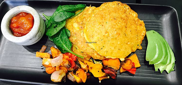 """Photo of Little Gossip Cafe  by <a href=""""/members/profile/NirvanaRoseWilliams"""">NirvanaRoseWilliams</a> <br/>Vegan corn fritters  <br/> June 17, 2017  - <a href='/contact/abuse/image/93814/269896'>Report</a>"""