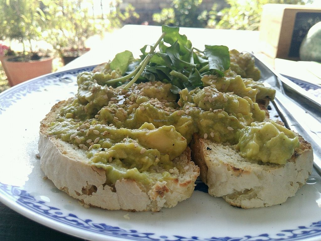 """Photo of The Juicery Cafe  by <a href=""""/members/profile/droryahalom"""">droryahalom</a> <br/>avocado on toast with greens <br/> October 20, 2017  - <a href='/contact/abuse/image/93853/316824'>Report</a>"""