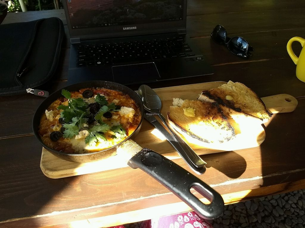 """Photo of The Juicery Cafe  by <a href=""""/members/profile/mugcake"""">mugcake</a> <br/>Tasty shakshouka (350 rupees) <br/> December 11, 2017  - <a href='/contact/abuse/image/93853/334556'>Report</a>"""