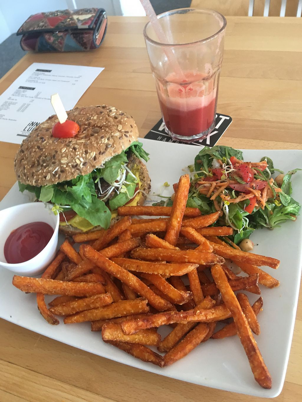 """Photo of innerluck  by <a href=""""/members/profile/edajoir"""">edajoir</a> <br/>Veggie burger with Avocado and sweet potato fries  <br/> September 16, 2017  - <a href='/contact/abuse/image/93866/304992'>Report</a>"""