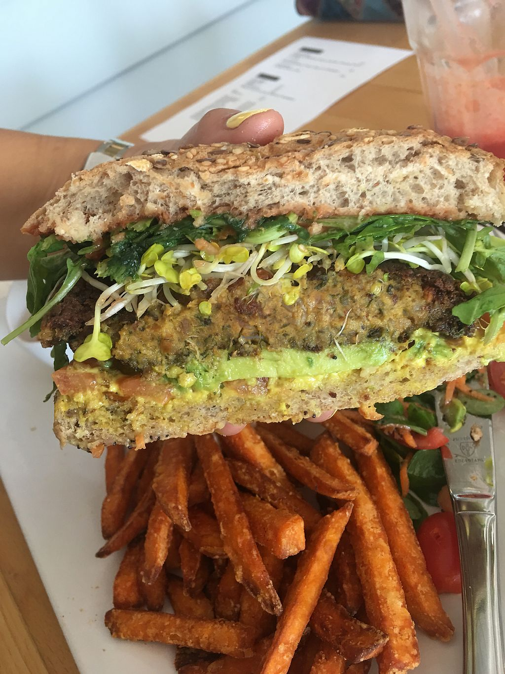 """Photo of innerluck  by <a href=""""/members/profile/edajoir"""">edajoir</a> <br/>Veggie burger with Avocado  <br/> September 16, 2017  - <a href='/contact/abuse/image/93866/304993'>Report</a>"""