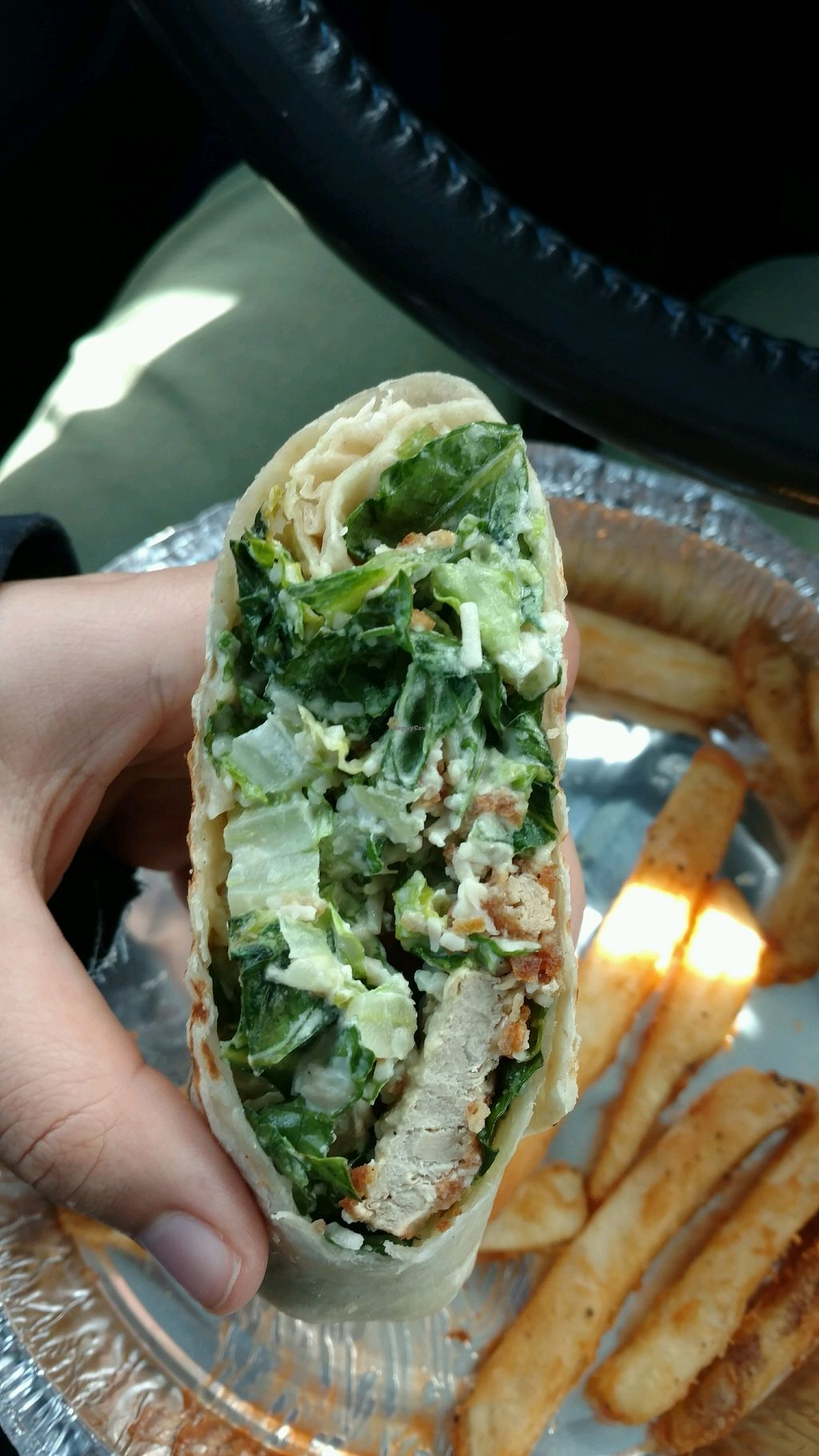 """Photo of Simply Green Cafe  by <a href=""""/members/profile/AllieGrinkevich"""">AllieGrinkevich</a> <br/>Vegan Chicken Ceasar Wrap <br/> April 9, 2018  - <a href='/contact/abuse/image/93872/383014'>Report</a>"""