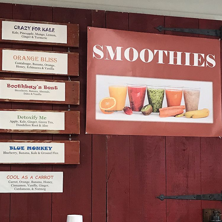"""Photo of Merry Auld Market & Tea  by <a href=""""/members/profile/Sarah%20P"""">Sarah P</a> <br/>smoothie menu all vegan <br/> June 11, 2017  - <a href='/contact/abuse/image/93886/268228'>Report</a>"""
