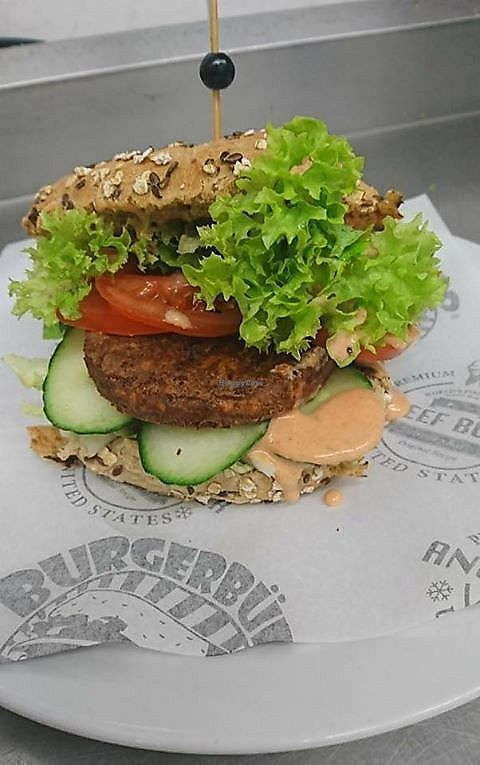 """Photo of Burgerbüro   by <a href=""""/members/profile/community5"""">community5</a> <br/>Vegan Sweet Potato and Bean Burger <br/> June 15, 2017  - <a href='/contact/abuse/image/93895/269344'>Report</a>"""