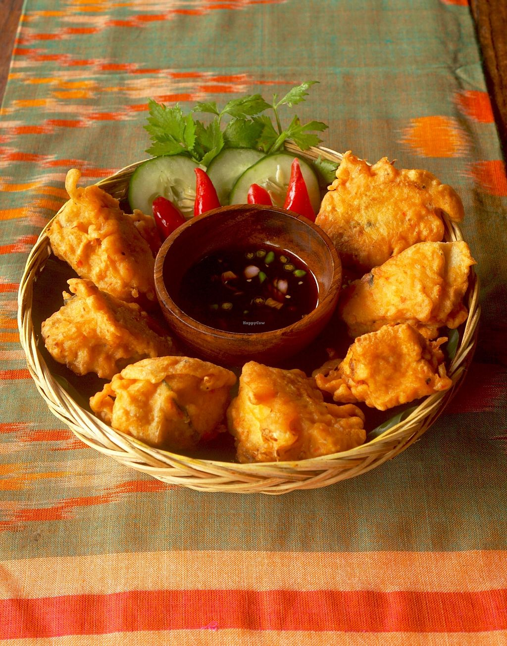 """Photo of Sarinbuana Eco Lodge Restaurant  by <a href=""""/members/profile/baliecolodge"""">baliecolodge</a> <br/>Tofu Isi - Tofu stuffed with local veggies with Tamari dipping sauce <br/> November 4, 2017  - <a href='/contact/abuse/image/93928/321586'>Report</a>"""