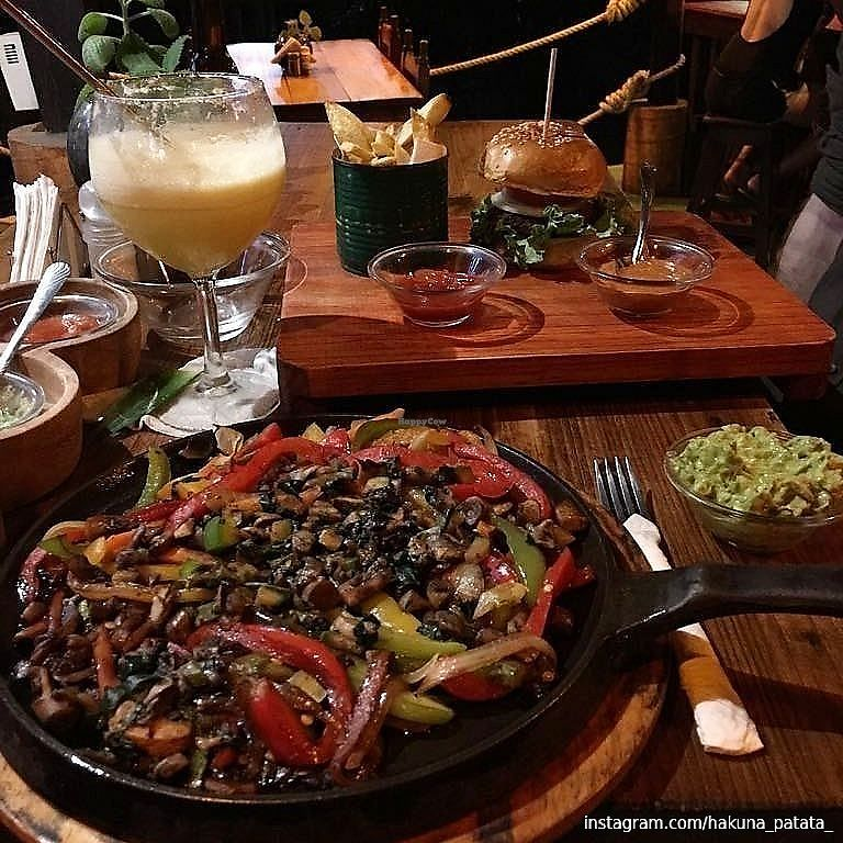 """Photo of Spirulina  by <a href=""""/members/profile/hakunapatata"""">hakunapatata</a> <br/>Veggie fajitas and soy burger (without dairy)  <br/> February 26, 2018  - <a href='/contact/abuse/image/93955/363988'>Report</a>"""