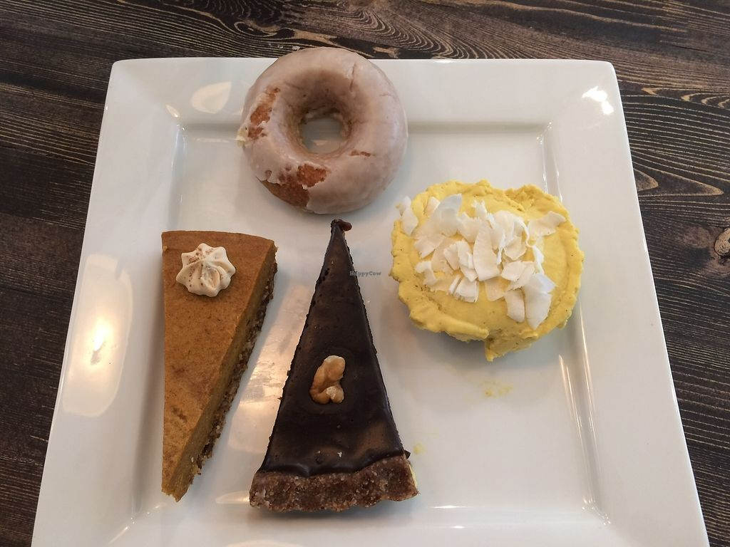 "Photo of The Juicery Co  by <a href=""/members/profile/Mdrutz"">Mdrutz</a> <br/>Our afternoon snack: pumpkin cheesecake, mango cheesecake, chocolate torte, and lemon doughnut.  <br/> October 2, 2017  - <a href='/contact/abuse/image/93982/311084'>Report</a>"