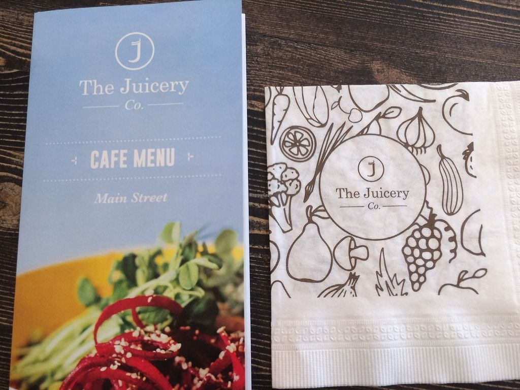 "Photo of The Juicery Co  by <a href=""/members/profile/Mdrutz"">Mdrutz</a> <br/>Menu and serviette! <br/> October 2, 2017  - <a href='/contact/abuse/image/93982/311085'>Report</a>"