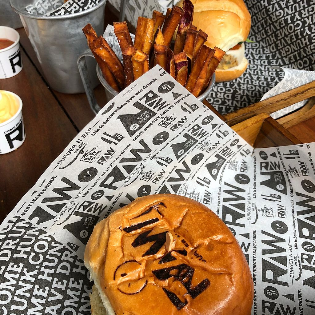 "Photo of Raw Burger and Bar  by <a href=""/members/profile/thegreensunflower"">thegreensunflower</a> <br/>Veggie Burger and sweet potato fries <br/> March 11, 2018  - <a href='/contact/abuse/image/94045/369364'>Report</a>"