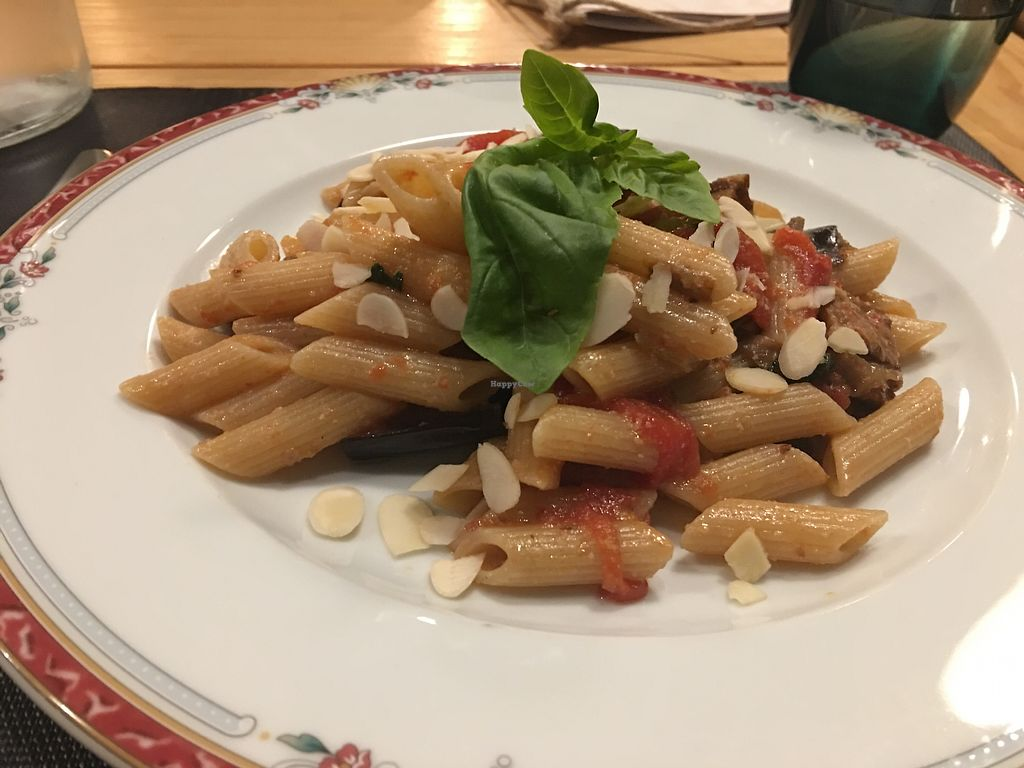 """Photo of Bistrot Veg & Veg  by <a href=""""/members/profile/isoceles"""">isoceles</a> <br/>Vegan Penne alla Norma with Almonds <br/> November 17, 2017  - <a href='/contact/abuse/image/94092/326395'>Report</a>"""