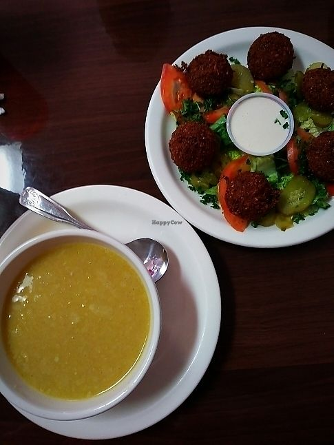 """Photo of Aladdin Cafe  by <a href=""""/members/profile/bjblunt71"""">bjblunt71</a> <br/>Lentil Soup & Falafel Appetizer <br/> June 17, 2017  - <a href='/contact/abuse/image/94130/269863'>Report</a>"""