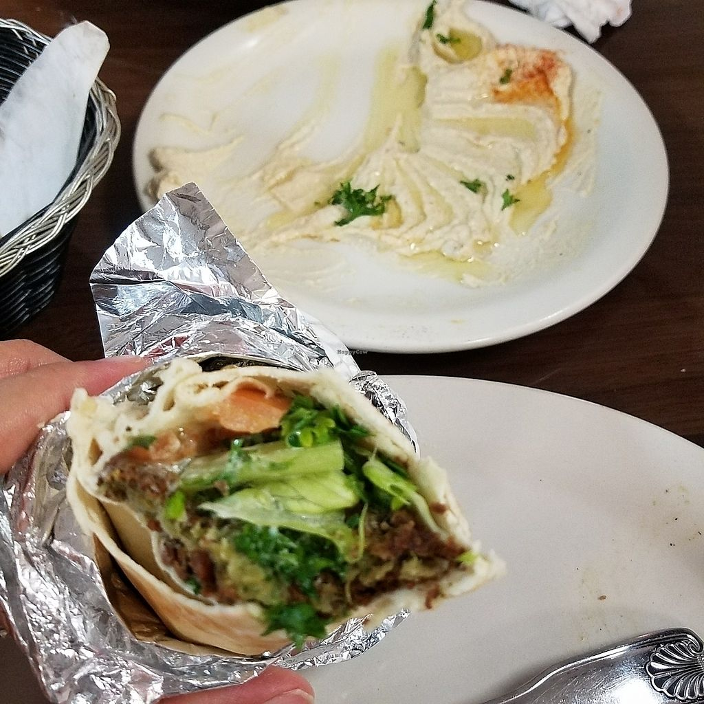 """Photo of Aladdin Cafe  by <a href=""""/members/profile/jm83allen"""">jm83allen</a> <br/>falafel and babaganoush <br/> August 11, 2017  - <a href='/contact/abuse/image/94130/291358'>Report</a>"""