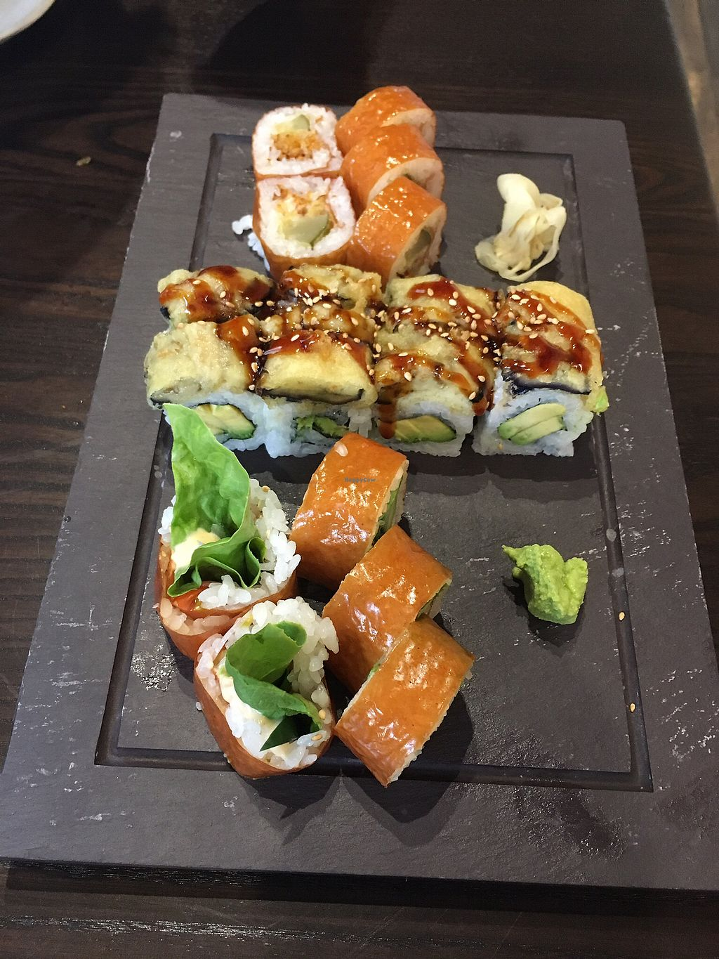 "Photo of Blue Sushi Sake Grill  by <a href=""/members/profile/HeartStrong"">HeartStrong</a> <br/>Three vegan rolls <br/> September 12, 2017  - <a href='/contact/abuse/image/94146/303664'>Report</a>"