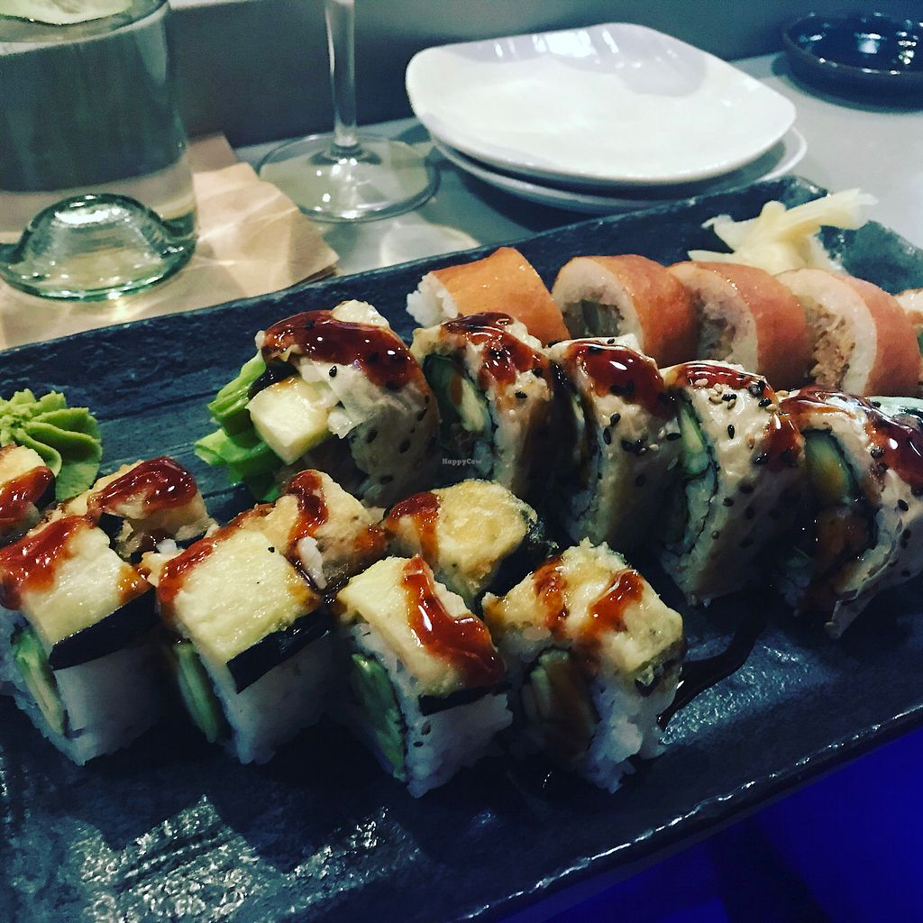 "Photo of Blue Sushi Sake Grill  by <a href=""/members/profile/BrittanyRees"">BrittanyRees</a> <br/>Vegan sushi. I tried 3 different rolls. They had at least 3 more vegan options. All were delicious!  <br/> January 22, 2018  - <a href='/contact/abuse/image/94146/349663'>Report</a>"