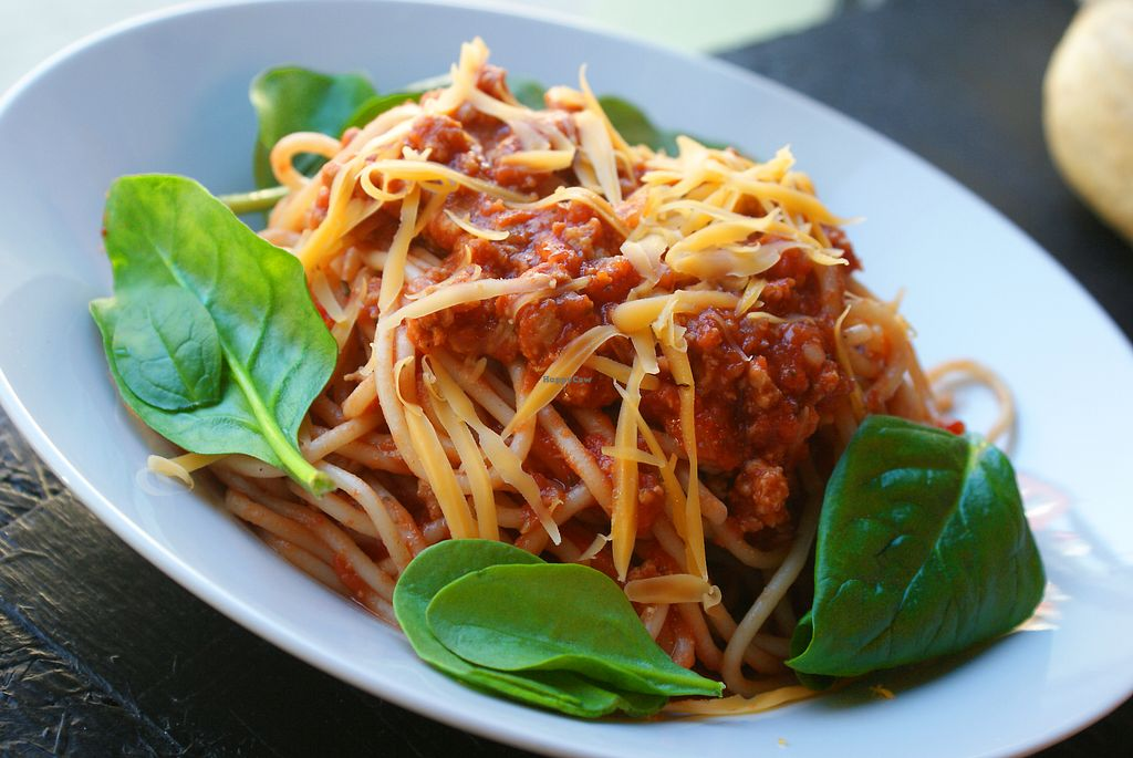 """Photo of Vegan Port Pizza & Restaurant  by <a href=""""/members/profile/AgnieszkaMirowska"""">AgnieszkaMirowska</a> <br/>Spaghetti with ,,bolognese'' sauce and vegan cheese <br/> April 9, 2018  - <a href='/contact/abuse/image/94176/383001'>Report</a>"""
