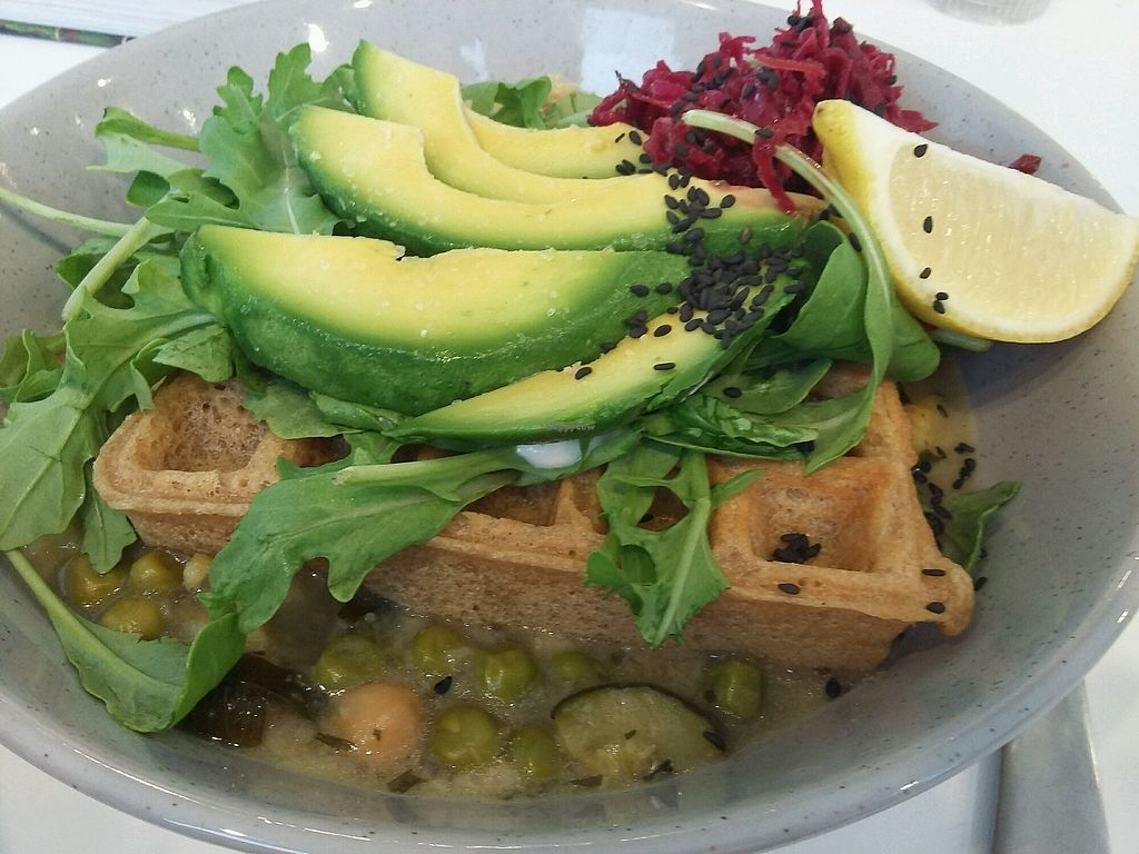"""Photo of Nutri Hitt  by <a href=""""/members/profile/Peanuts"""">Peanuts</a> <br/>Savory waffle on chickpea curry with cashew sour cream and avocado <br/> March 27, 2018  - <a href='/contact/abuse/image/94197/376678'>Report</a>"""
