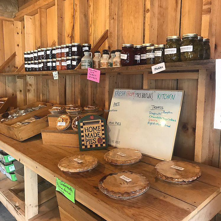 """Photo of Brown's Farm Stand  by <a href=""""/members/profile/Sarah%20P"""">Sarah P</a> <br/>baked and canned goods <br/> June 17, 2017  - <a href='/contact/abuse/image/94233/270182'>Report</a>"""