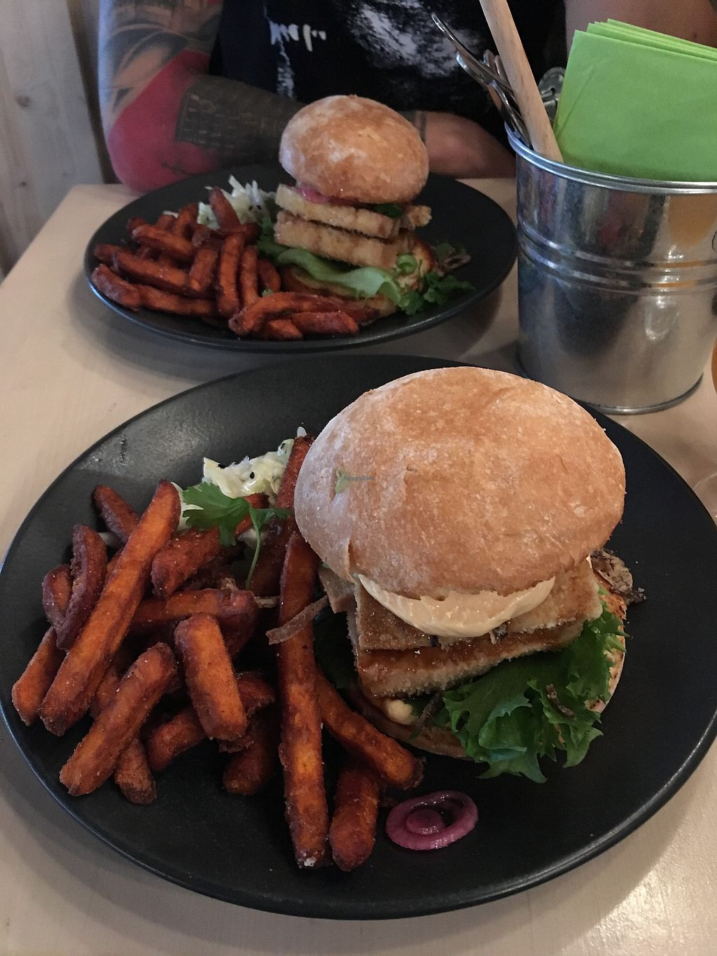 """Photo of Gastropub Betony  by <a href=""""/members/profile/dicesskull"""">dicesskull</a> <br/>Teriyaki Tofu Burger with Sweet Potato Fries <br/> September 9, 2017  - <a href='/contact/abuse/image/94331/302428'>Report</a>"""