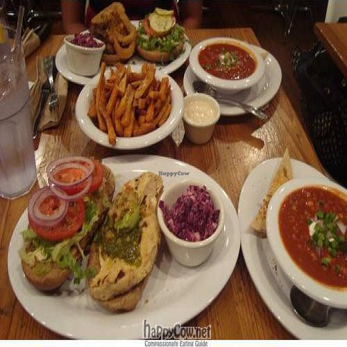 """Photo of Veggie Grill - University Center  by <a href=""""/members/profile/Nefarity"""">Nefarity</a> <br/>Food! Grillin' Chickin', Sweet Heart Fries, Bean me Up Chili,and 'The Stack' <br/> August 28, 2009  - <a href='/contact/abuse/image/9434/2543'>Report</a>"""