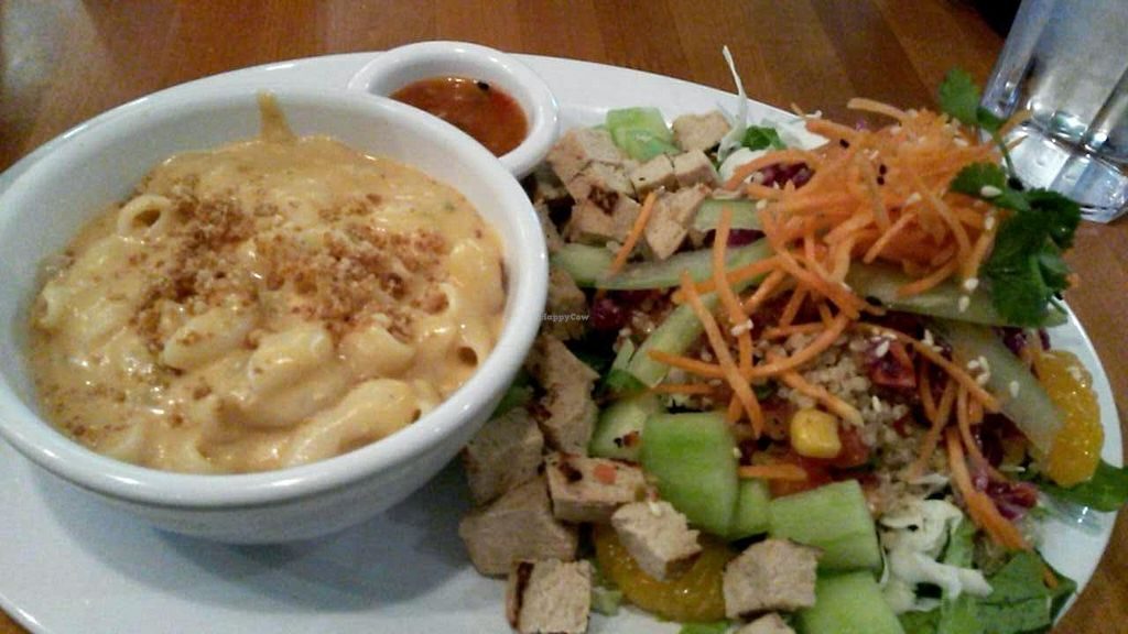 """Photo of Veggie Grill - University Center  by <a href=""""/members/profile/LiilyPadd"""">LiilyPadd</a> <br/>Mac and cheese and thai chicken salad <br/> February 2, 2015  - <a href='/contact/abuse/image/9434/92010'>Report</a>"""
