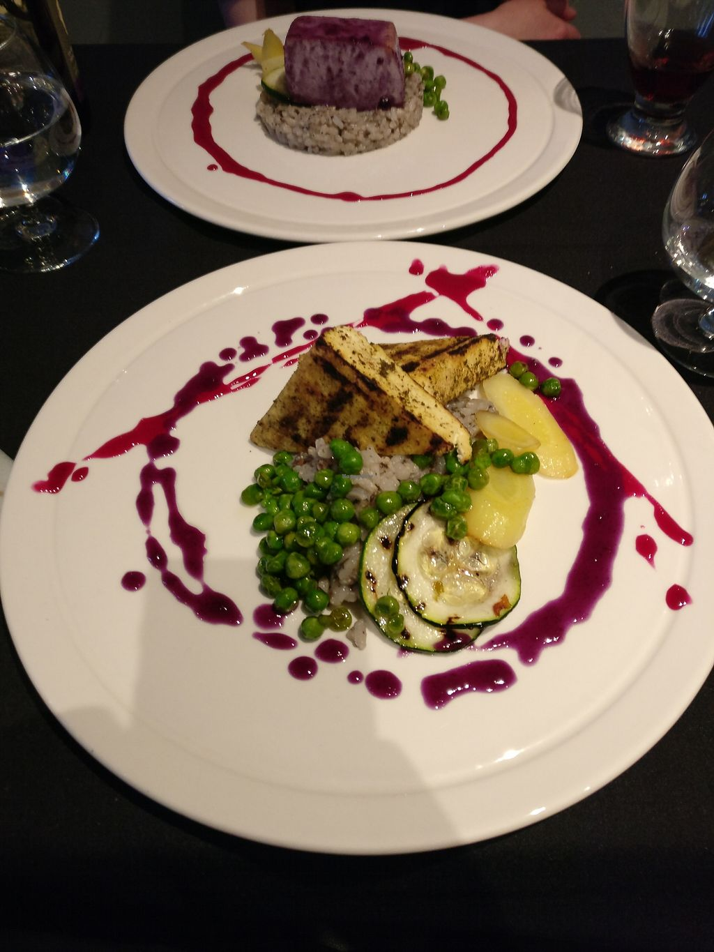 """Photo of Fiddlehead Bistro  by <a href=""""/members/profile/JoeyMorin"""">JoeyMorin</a> <br/>Herb encrusted tofu, mushroom risotto, roasted veg and rosemary purple carrot reduction.  <br/> June 21, 2017  - <a href='/contact/abuse/image/94352/271604'>Report</a>"""