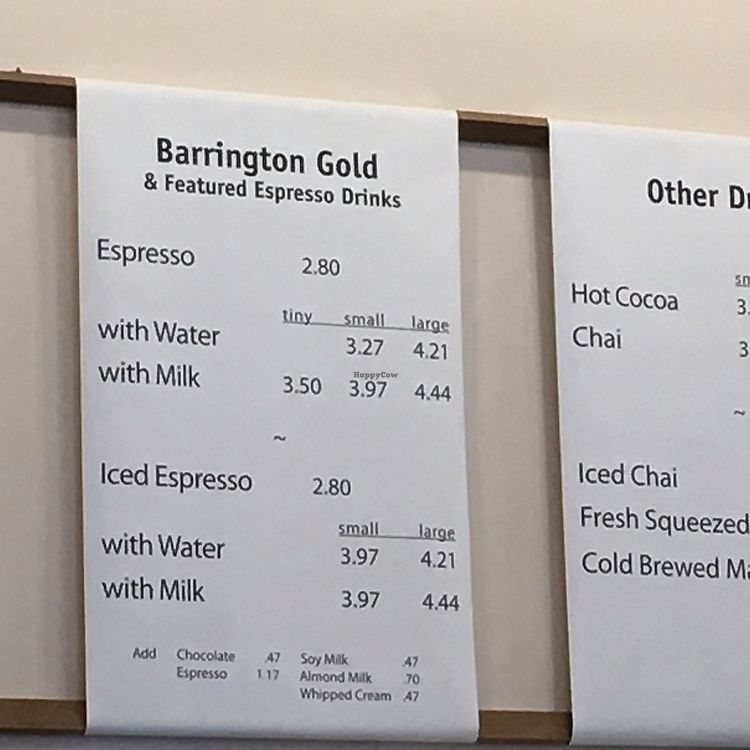 """Photo of Barrington Coffee Roasting Company  by <a href=""""/members/profile/iamrunningthis"""">iamrunningthis</a> <br/>Soy milk and almond milk surcharges listed on menu <br/> June 30, 2017  - <a href='/contact/abuse/image/94353/274960'>Report</a>"""