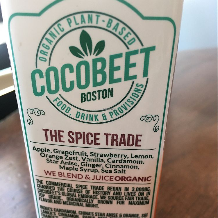 "Photo of Cocobeet  by <a href=""/members/profile/iamrunningthis"">iamrunningthis</a> <br/>Spice Trade juice <br/> August 16, 2017  - <a href='/contact/abuse/image/94356/293290'>Report</a>"