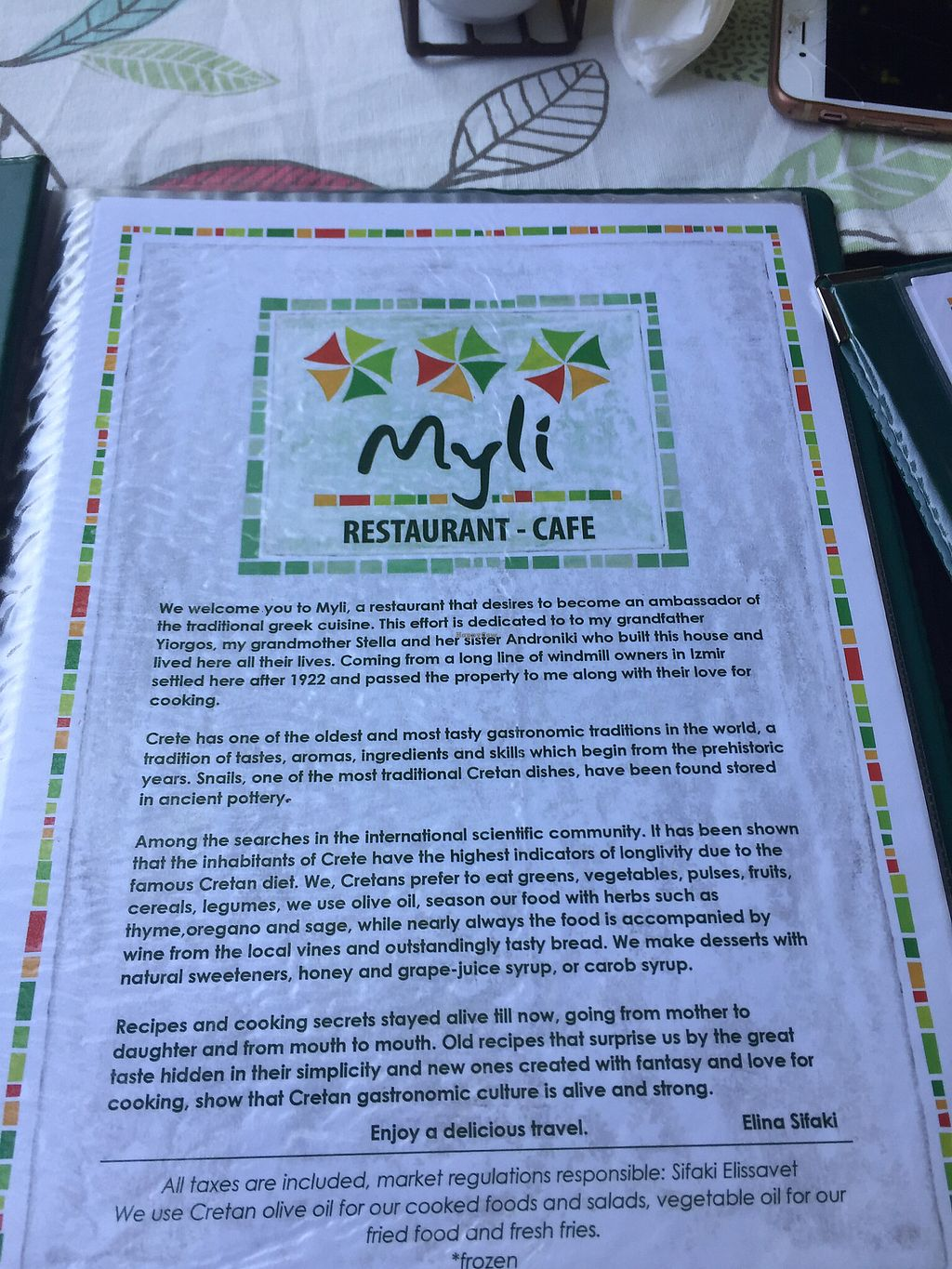 """Photo of Myli Restaurant Cafe  by <a href=""""/members/profile/Sophiapalmqvist"""">Sophiapalmqvist</a> <br/>the menu <br/> June 30, 2017  - <a href='/contact/abuse/image/94363/275337'>Report</a>"""