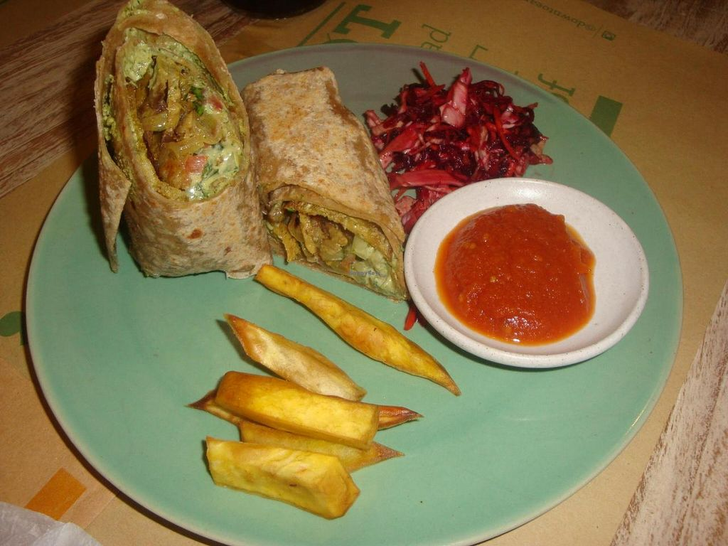 """Photo of Zula Vegetarian Paradise  by <a href=""""/members/profile/Sonja%20and%20Dirk"""">Sonja and Dirk</a> <br/>Jamaican seitan mix wrap <br/> June 12, 2014  - <a href='/contact/abuse/image/9439/71932'>Report</a>"""