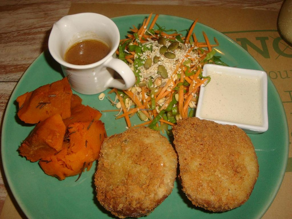 """Photo of Zula Vegetarian Paradise  by <a href=""""/members/profile/Sonja%20and%20Dirk"""">Sonja and Dirk</a> <br/>seitan schnitzel with baked pumpkin <br/> June 12, 2014  - <a href='/contact/abuse/image/9439/71933'>Report</a>"""