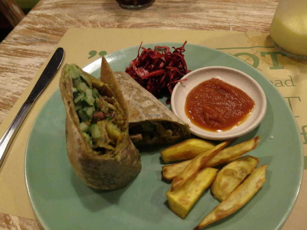 """Photo of Zula Vegetarian Paradise  by <a href=""""/members/profile/kareninpdx"""">kareninpdx</a> <br/>Jerusalem mix as a burrito with sweet potato fries <br/> June 14, 2014  - <a href='/contact/abuse/image/9439/72011'>Report</a>"""